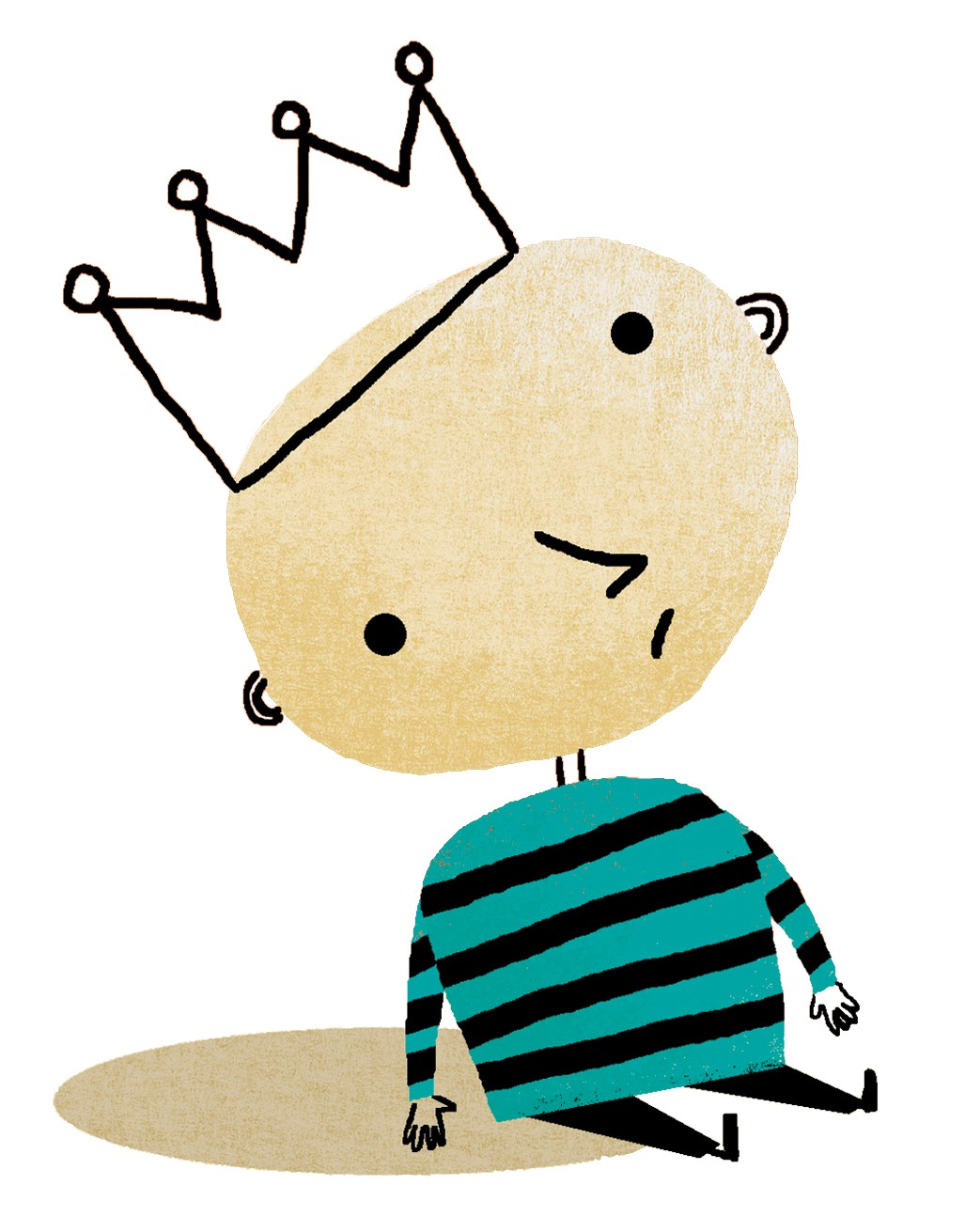 illustration of small child with crown on head.